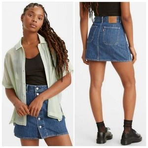 LEVI'S Button Front Hi-Rise Utility Jean Skirt NWT